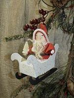 #PT127 My Primitive- VINTAGE STYLE ORNIES- Dash Away Santa Epattern