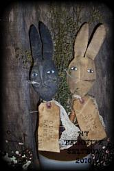 MY PRIMITIVE PAIR OF HARES  PATTERN PT025