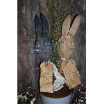 MY PRIMITIVE PAIR OF HARES  PATTERN PT025-PRIMITIVE,RABBIT,HARE,PATTERN,MAKE-DO,SPINDLE,BOBBIN,EASTER,