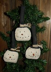 My Primitive Plain and Simple snowmen Ornies Epattern