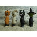 My Primitive SPOOKY SPOOLS-halloween,pattern,spools,cat,witch,pumpkin head,ghost,primitive,ornies