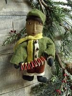 VINTAGE STYLE ORNIES BOY WITH SQUEEZE BOX ORNIE PATTERN-VINTAGE, ORNIE, ORNAMENT, PATTERN, PRIMTIVE, BOY, DOLL, CHRISTMAS, TREE